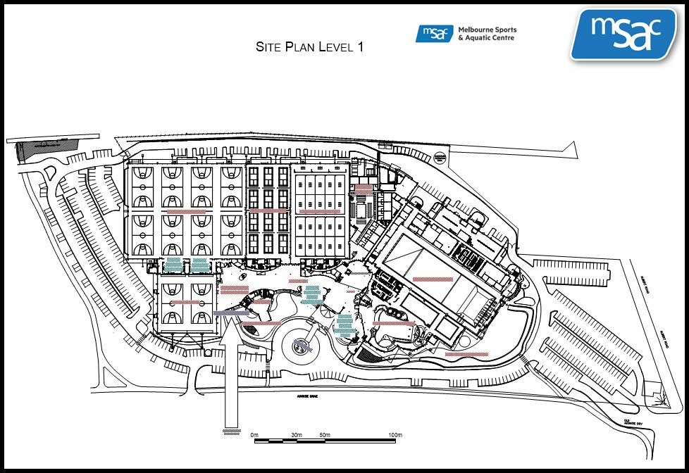 Site plan of Melbourne Sports and Aquatic Centre