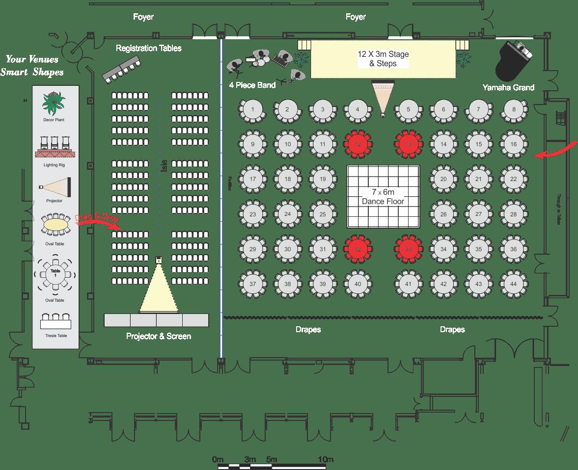 PDF floor plan showing a wedding layout